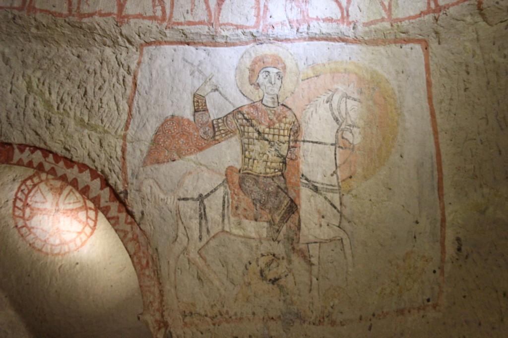 Святий Георгій. Фреска каплиці св. Василія. Гьореме, Каппадокія