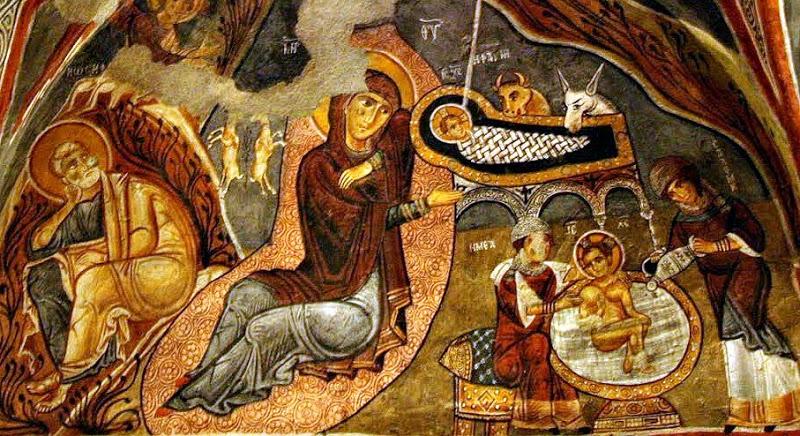 Різдво Христове. Фреска Темної церкви в Гьореме, Кападокія