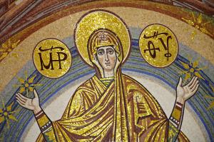 Покрова Божої Матері. Мозаїка північної абсиди Спасо-Преображенського собору