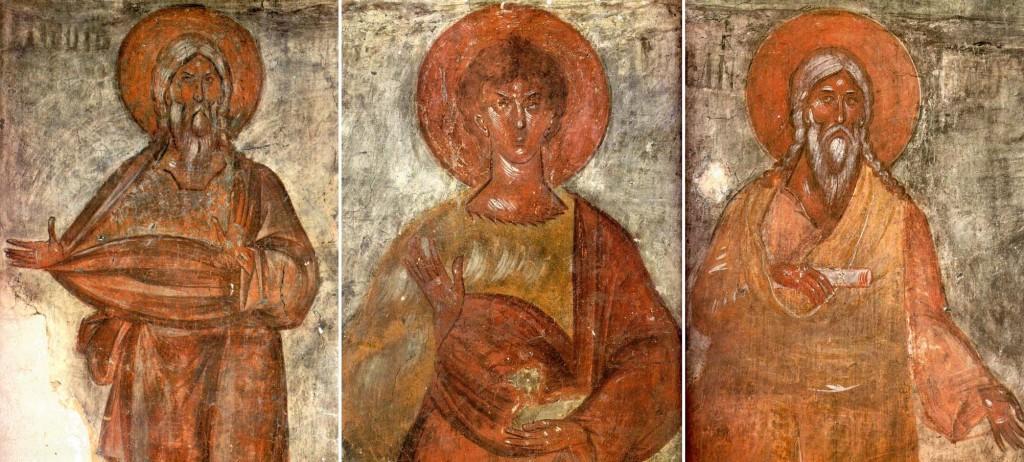 Праотці Адам, Авель, Сиф. Фреска Феофана Грека