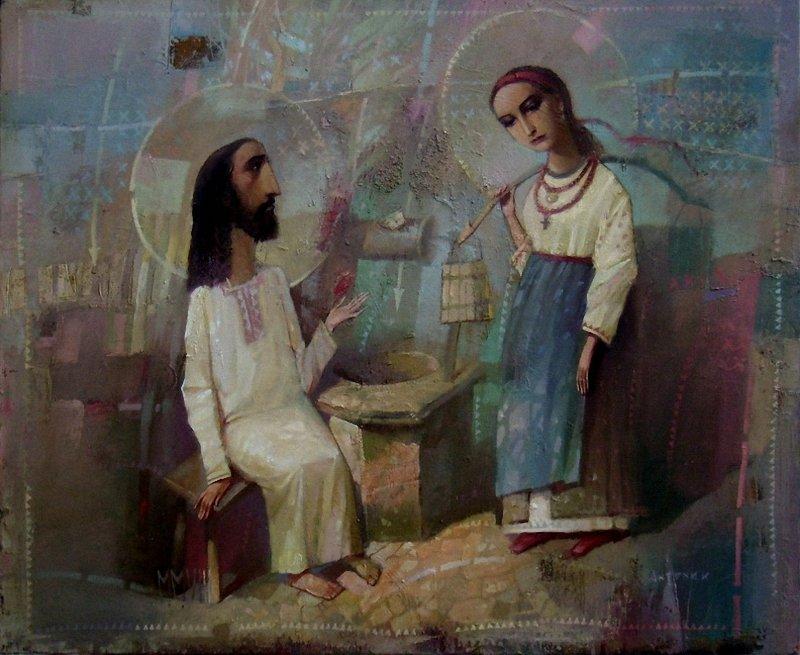 Ісус і самарянка. Картина Олександра Антонюка.
