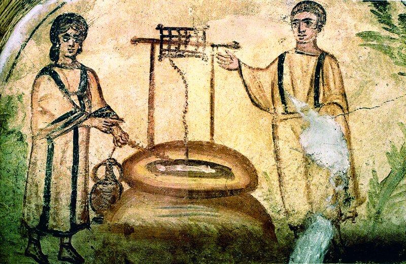 Ісус і самарянка. Розпис катакомб на Віа Латина, Рим, сер. IV ст.