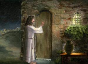 Ісус стукає в двері. Образ із глави 3 книги Одкровення. Картина Цецилії Брендель.